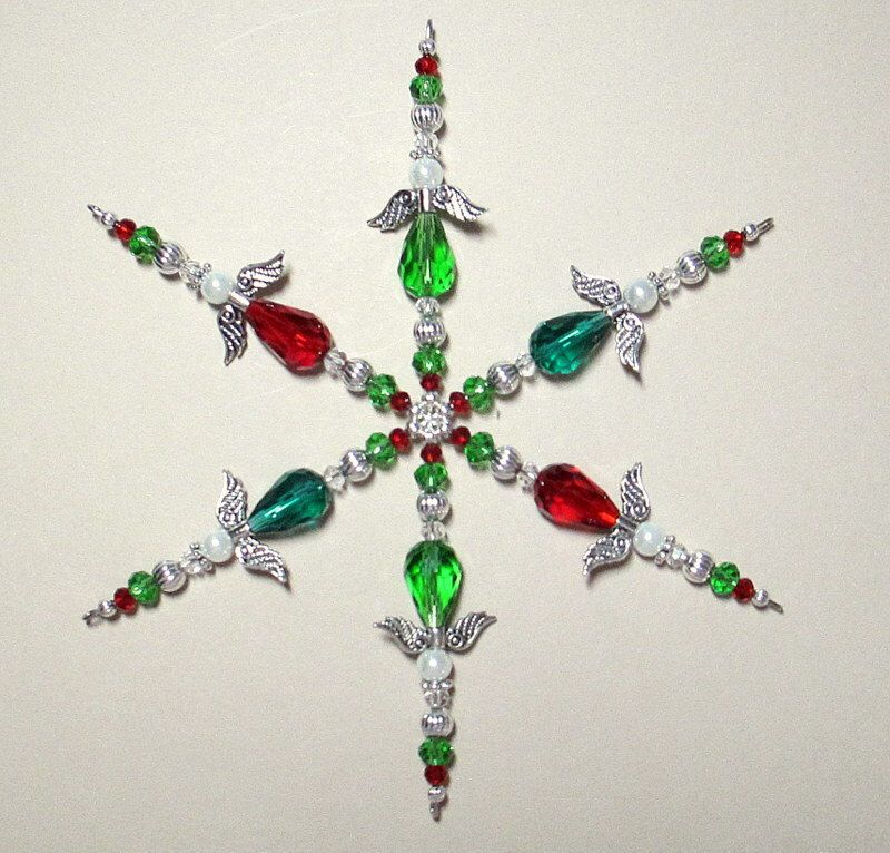 Beaded Snowflake Ornament ~ Christmas Ornament ~ Suncatcher ~ Green & Red Guardian Angel Ornament ~ Crystal Ornament ~ Snowflake ~ Tucson AZ by ItsaColorfulLife on Etsy https://www.etsy.com/listing/212888938/beaded-snowflake-ornament-christmas