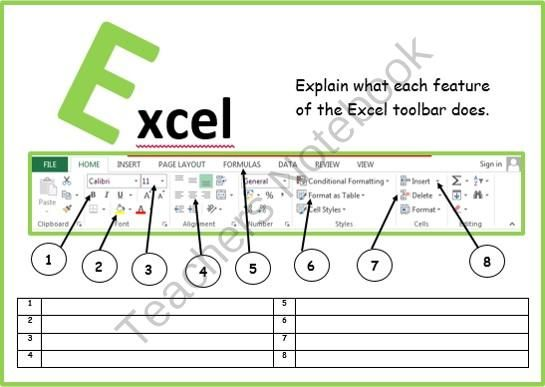Microsoft excel toolbar from computer ict lesson plans for Understanding blueprints
