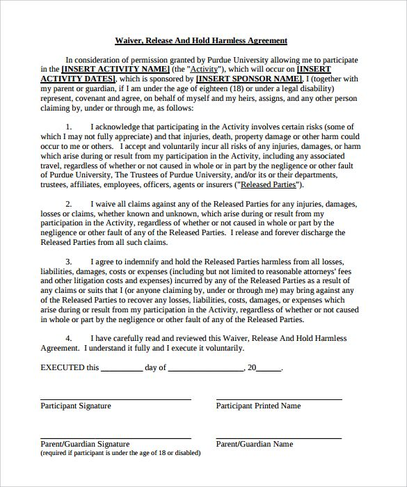 Hold Harmless Agreement Pdf Reference Letter Business Mentor Contract Template