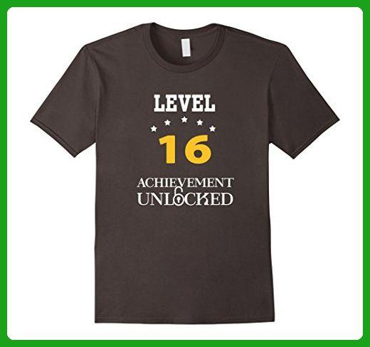 Mens Level 16 Achievement Unlocked Birthday Gift T Shirt Small Asphalt
