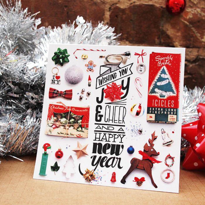 マステやリボン、フェルトなど質感の違う素材を組み合わせてたアイデア。いろんなデザインがギュッと詰まったクリスマスカードは見ているだけで楽しくなりますね。