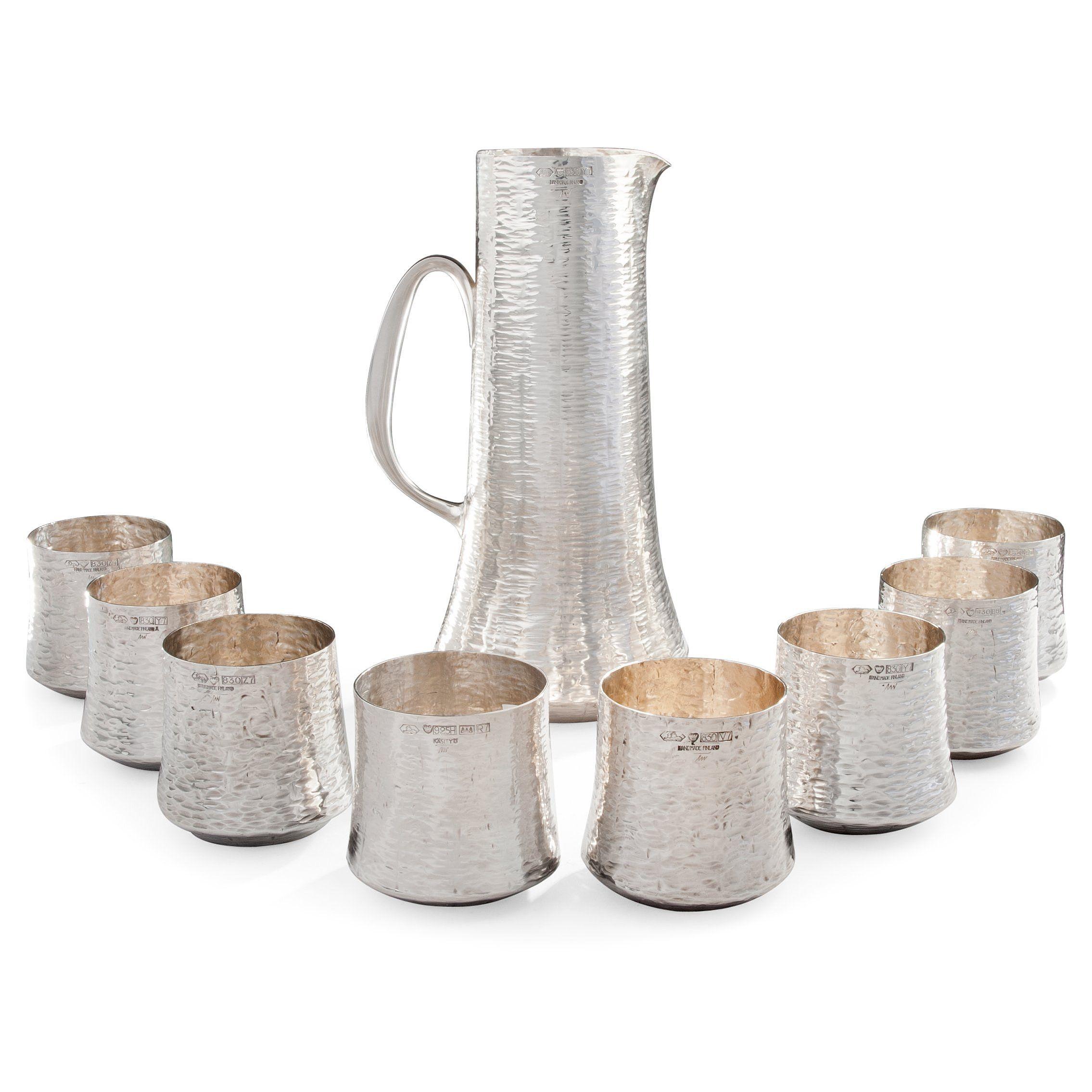 Tapio Wirkkala silver pitcher & beaker set. (Signed TW. Silver 830. Kultakeskus, Hämeenlinna, 1970s.)