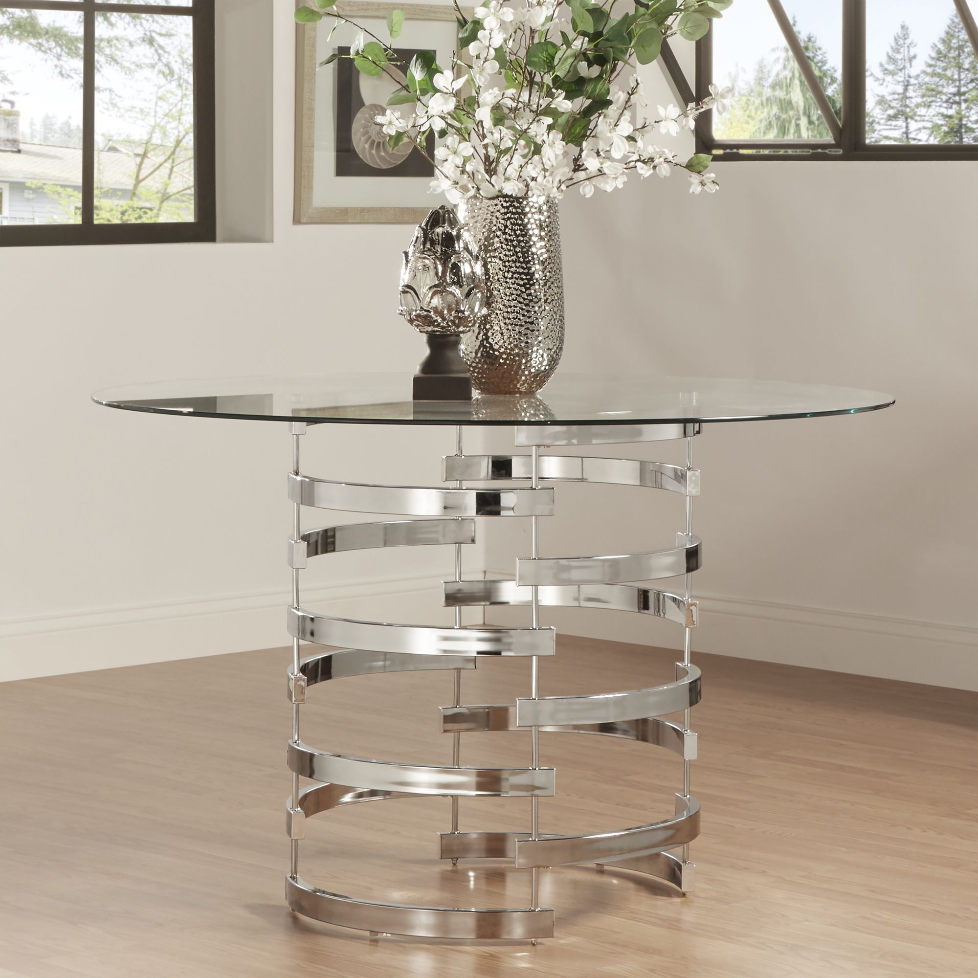 Nova Round Glass Top Vortex Iron Base Dining Table by Inspire Q (Dining  Table), Clear