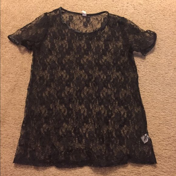Short sleeve black lace top size M Purchased from pacsun. See through. Shoulder to hem 26 inches. PacSun Tops