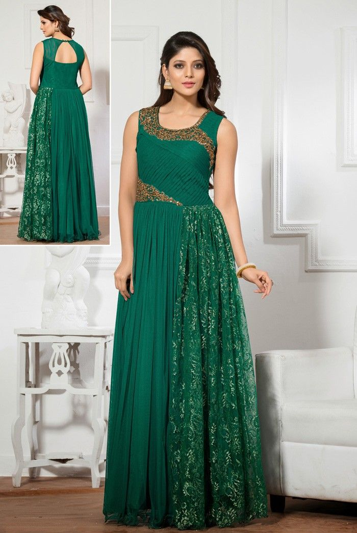 6ce35b06251e  Green Net  Readymade  Gown  Indian-Designer-Gowns  Evening-Party-Gown   Readymade-Gowns  Buy-Gowns-Online