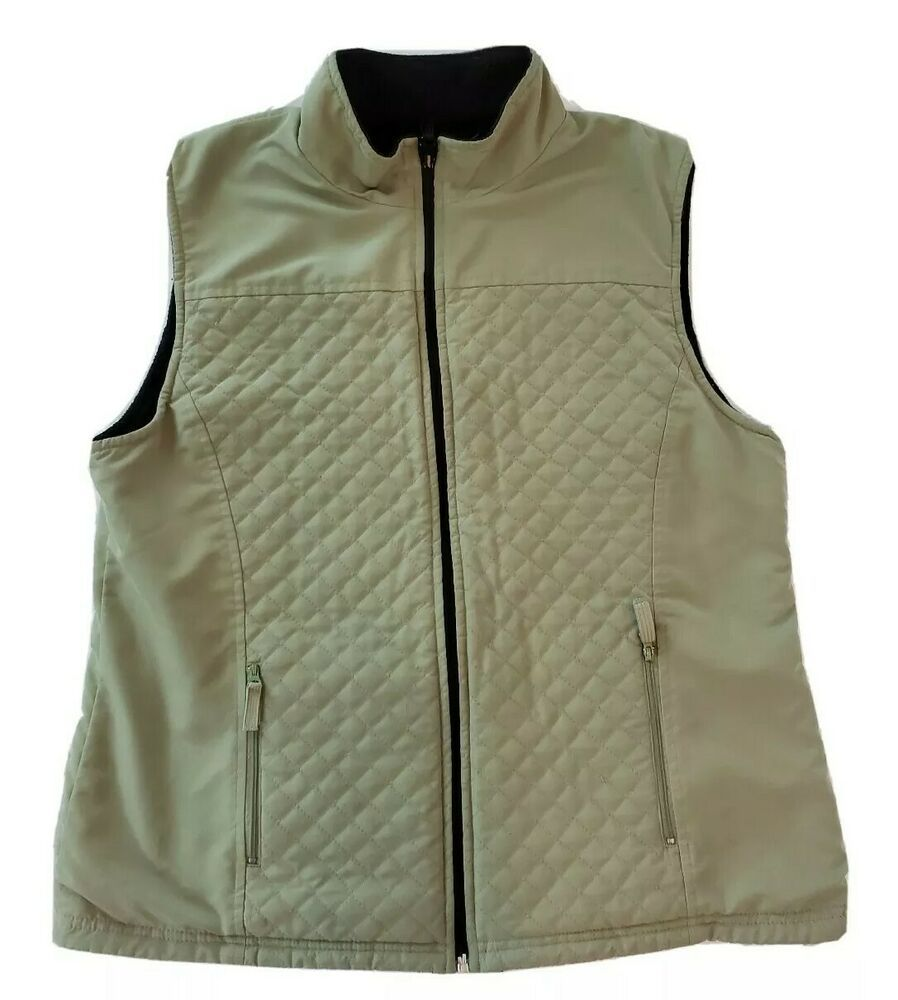 Karen Scott Womens Medium Reveseable Vest Jacket Green Black Puffer Coat Zipper Karenscott Puffe Black Puffer Coat Outerwear Jackets Women S Coats Jackets [ 1000 x 898 Pixel ]