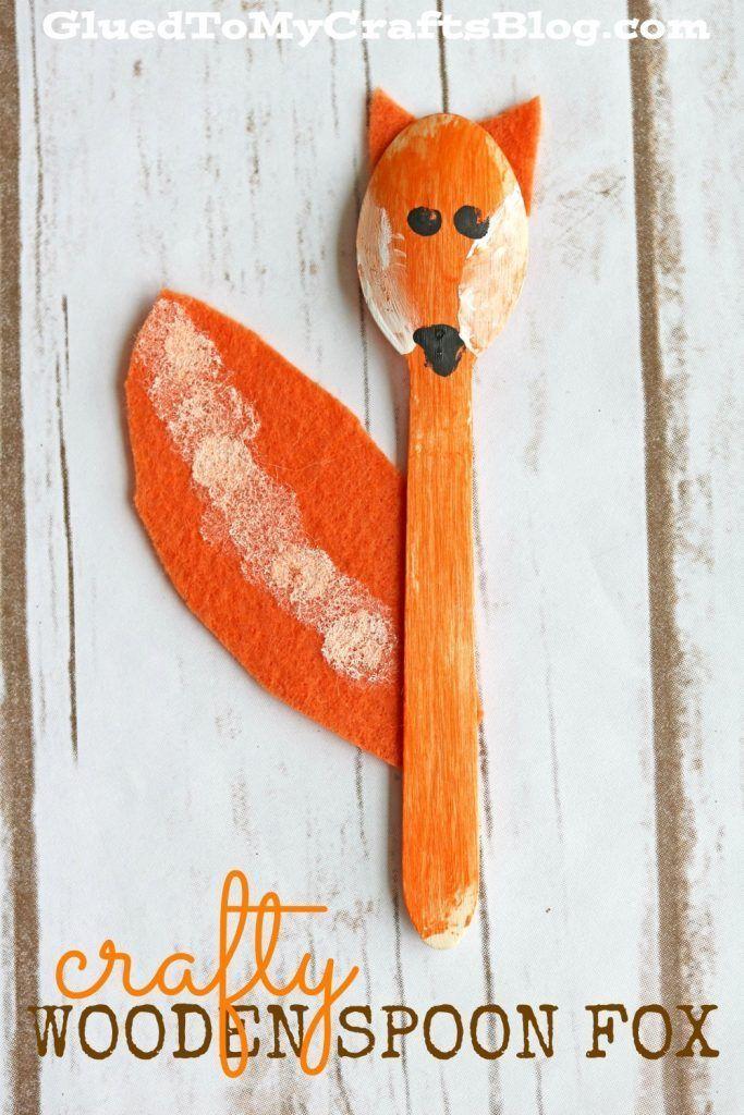 wooden spoon fox kid craft fox kids wooden spoon and spoon. Black Bedroom Furniture Sets. Home Design Ideas