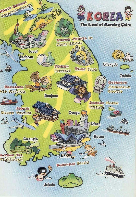 Tourist Illustrated Map Of South Korea Jpg 805 1 170 Pixels Avec