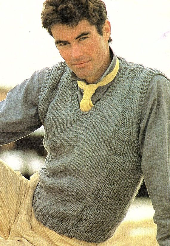 Mens Vest, Easy & Quick, Knitting Pattern. PDF Instant Download ...