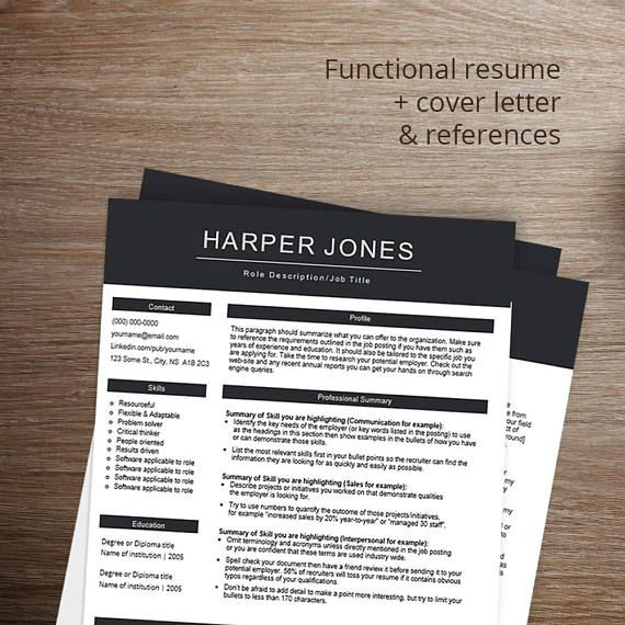 Professional resume template \/ cv template Functional CV - template functional resume