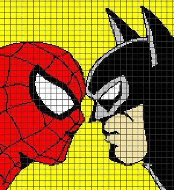 Spiderman vs. Batman Crochet Graphghan Pattern (Chart/Graph AND Row ...