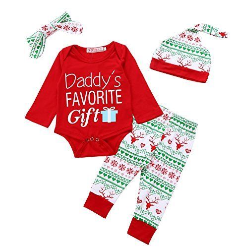 christmas outfits infant girl - Von kilizo Christmas 4Pcs Outfit Set Baby  Boys Girls Daddy's Favorite Gift Rompers(3-6 Months) >>> You can find out  more ... - Christmas Outfits Infant Girl - Von Kilizo Christmas 4Pcs Outfit Set