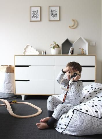 And The Rest 'Feather & Stones' - Monochrome Square Bean Bag