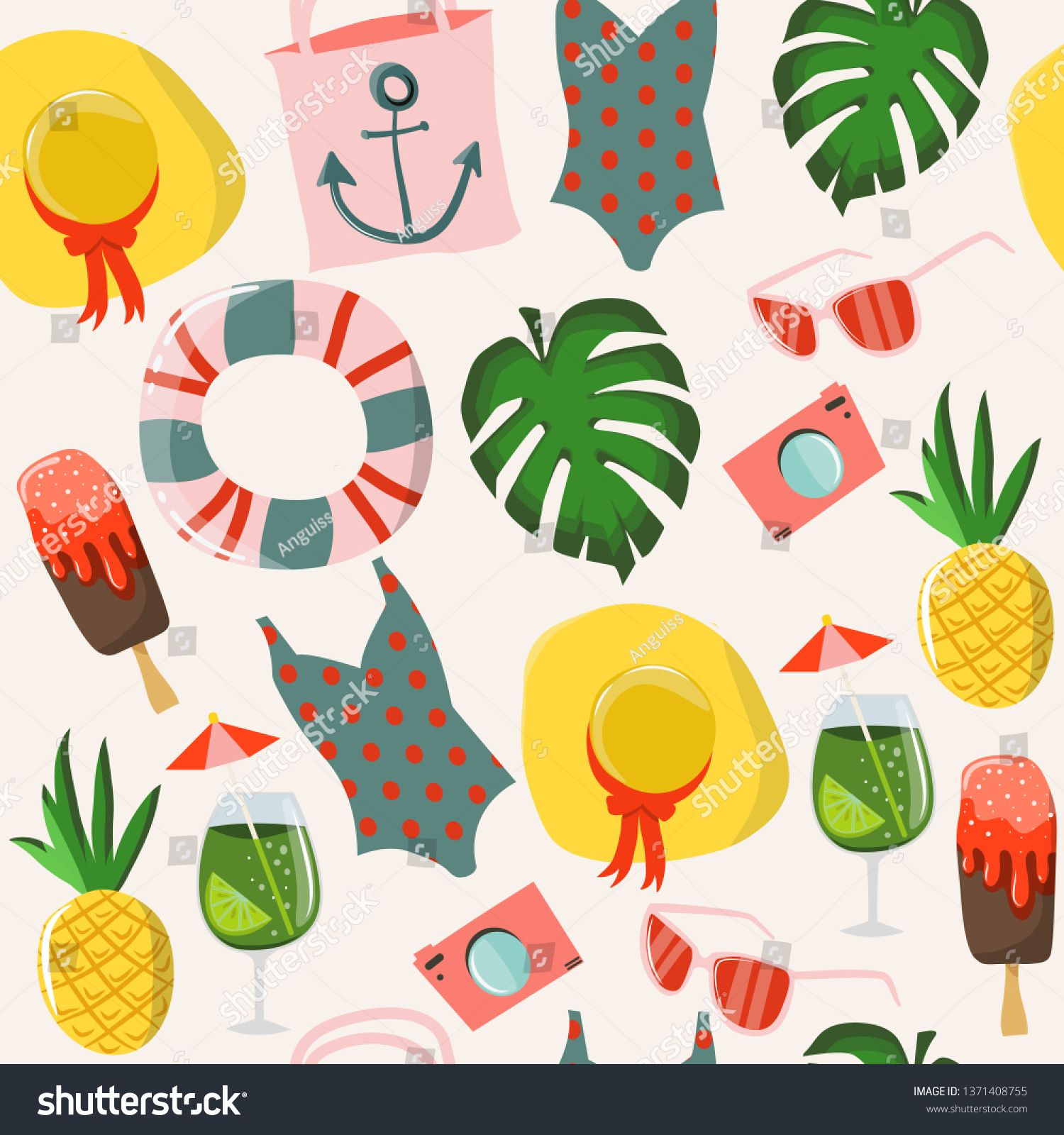 Summer seamless pattern    #illustration #vectorillustration #vectorart #vectorartist #clipart #shutterstock #adobeillustrator #vectorgraphics #summer #summerpattern #seamlesspattern