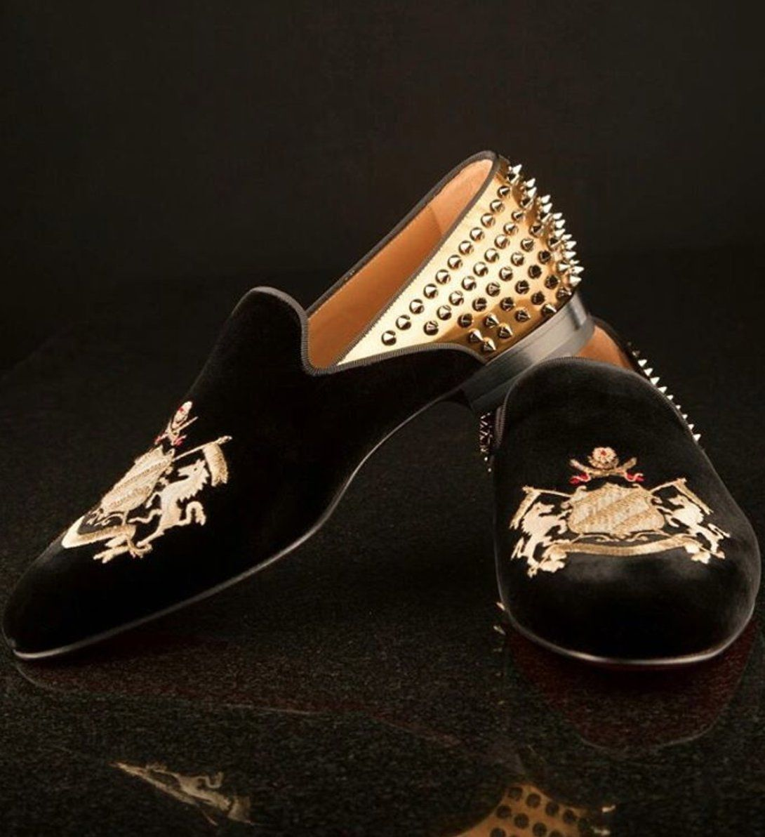 23e7ad2a74c8 Mens black loafers with spikes at the back by Sabyasachi x Christian  Louboutin