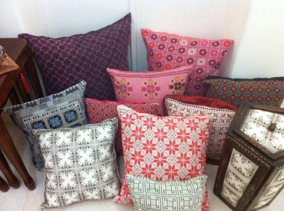 Palestinian Embroidery Pillow مخدة تطريز فلاحي Palestinian Embroidery Throw Pillows Pillows