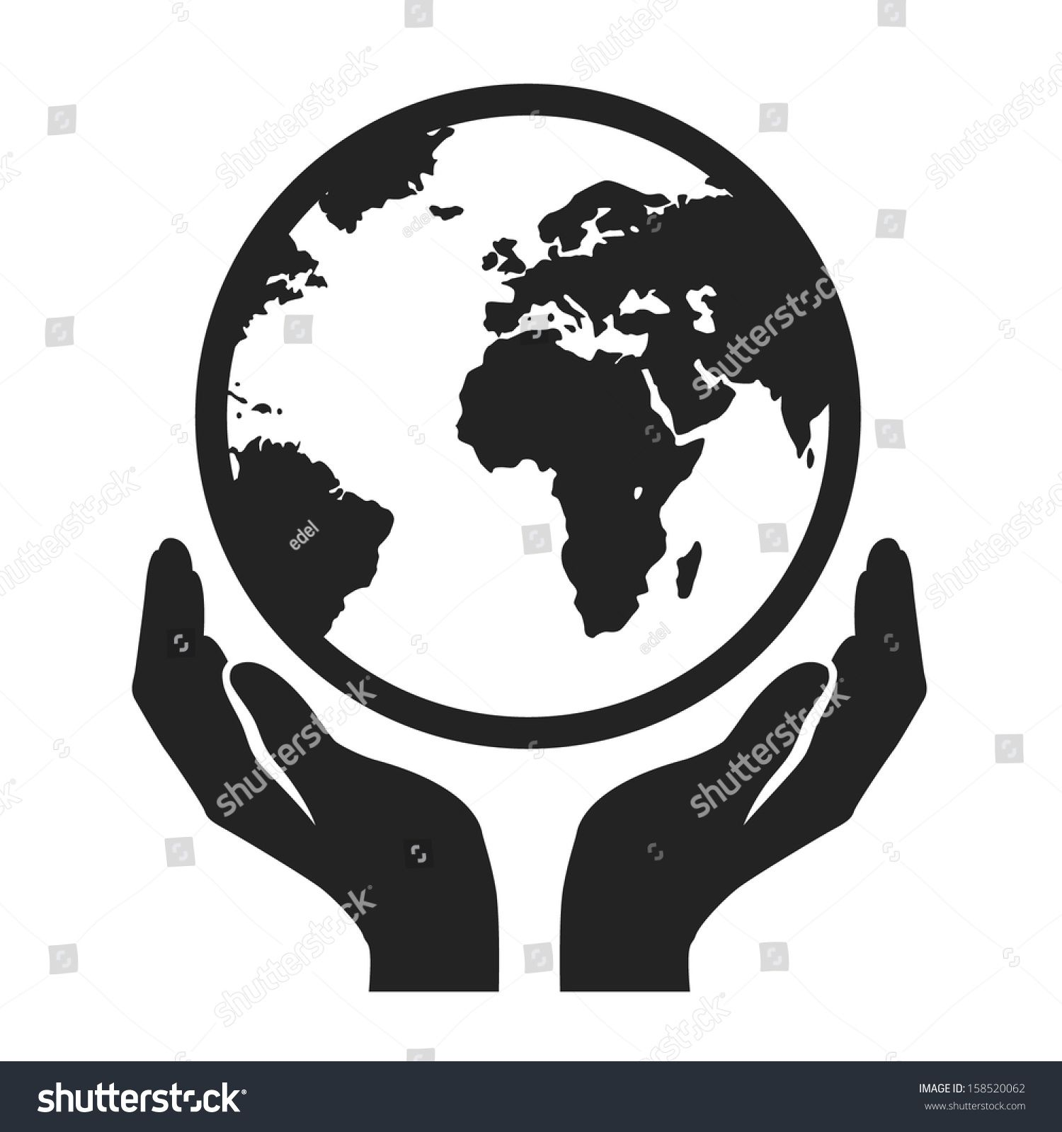 hands holding globe earth web black icon save earth