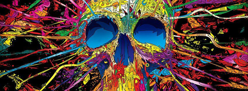 Colorful Abstract Skull Fb Cover Hd Cool Fb Cover Skull