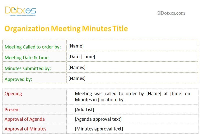 PrintableMeetingMinutesTemplateForOrganizationFeatured