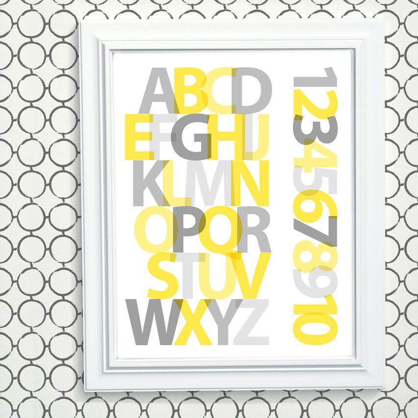 Yellow Gray Nursery Art, Modern Alphabet Art, New Baby Gift ...