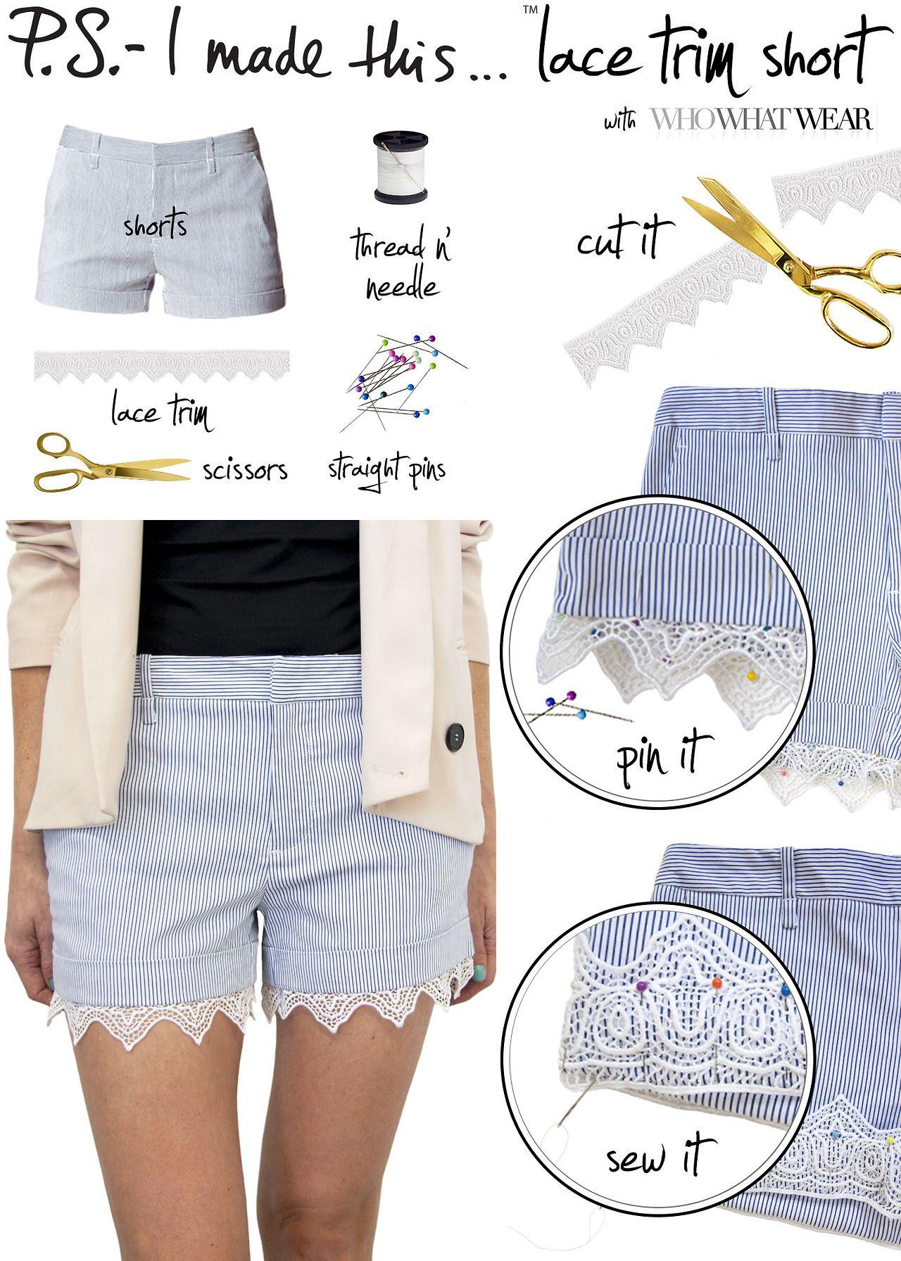lace shorts | DIY Stuff | Pinterest | Costura, Cambio y Femenino