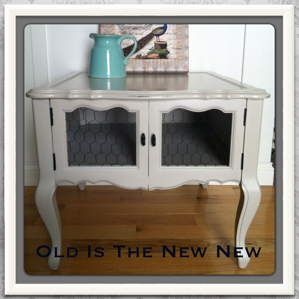 Country Chic End Table with Chicken Wire Doors ochre & Country Chic End Table with Chicken Wire Doors ochre | End Tables ... Pezcame.Com