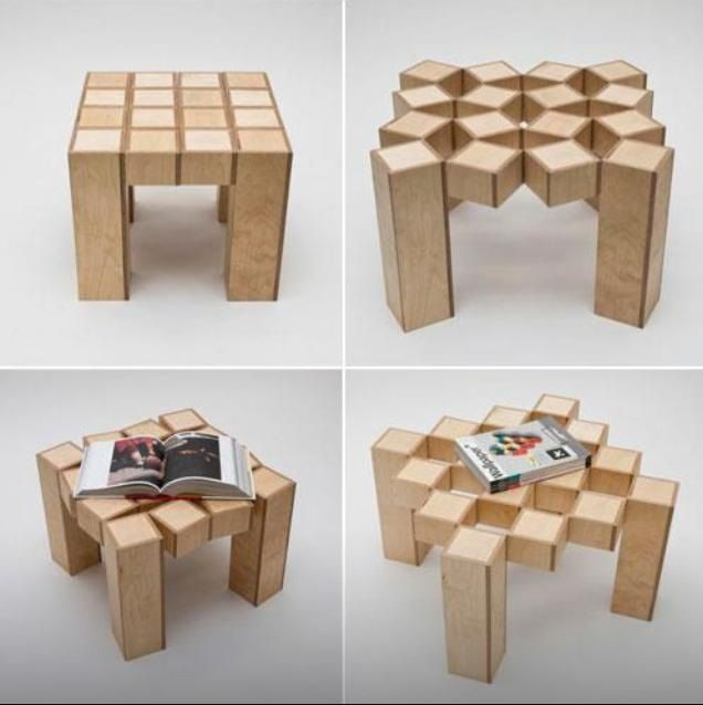 Tavolino in legno cubico scomponibile oggetti design - Oggetti di design in legno ...