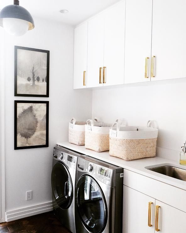 White And Gold Laundry Room Vintage Laundry Room White Laundry Rooms Laundry Room Inspiration