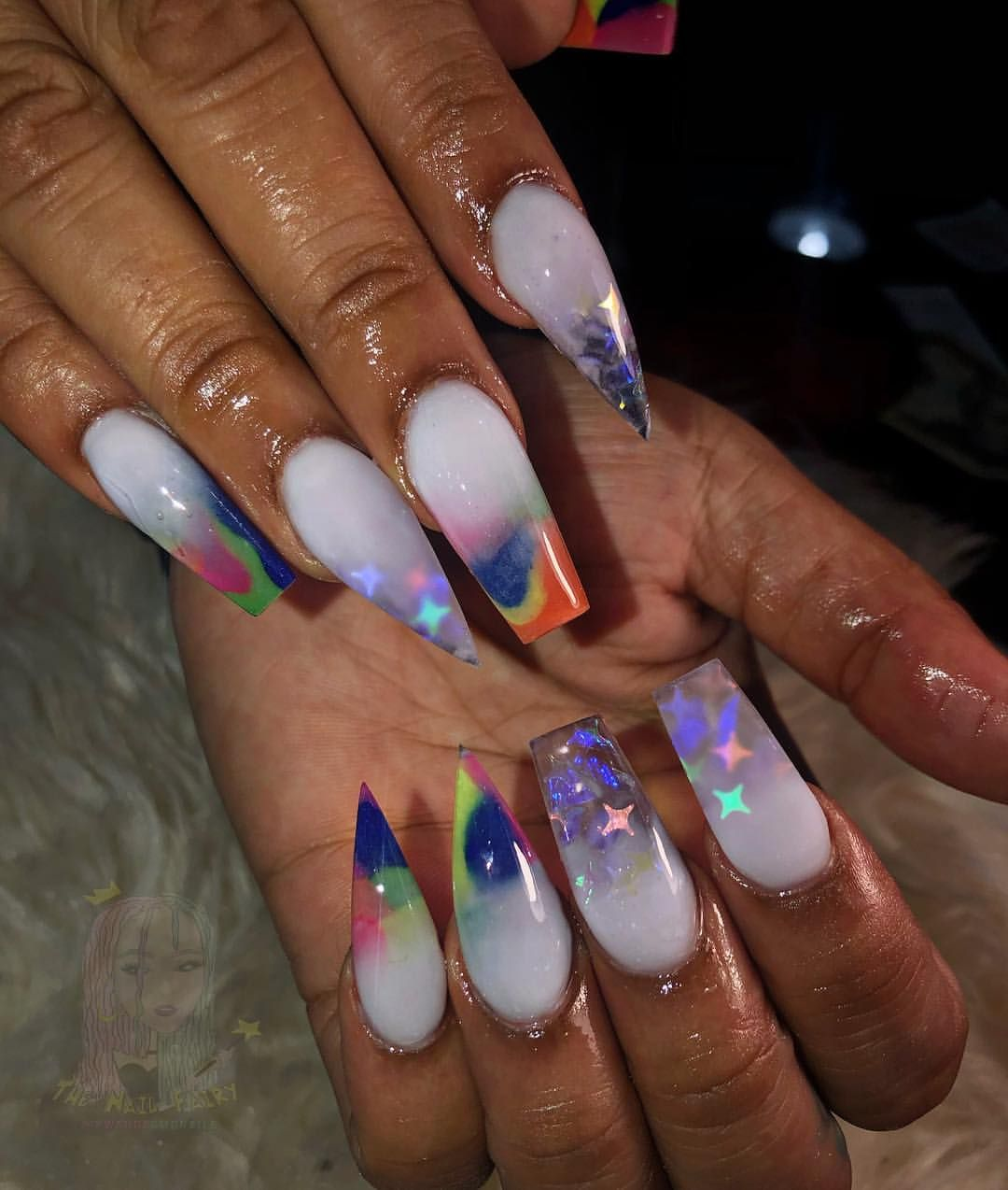 Oh My Oh My What A Colorful Time By Thelilfairy Nails Ombre Ombrenails Colorfulnails Juniebeenails Harlem Glue On Nails Nail Colors Crystal Nails