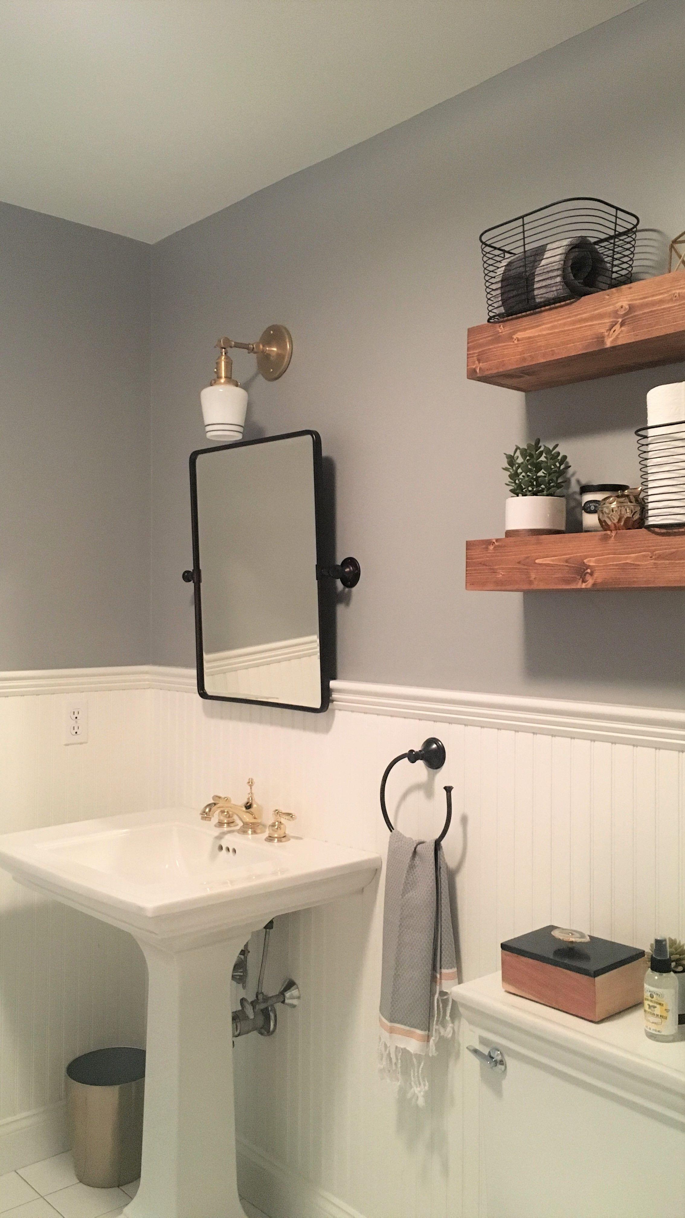 Modern Farmhouse Bathroom Floating Shelves Vintage Accents