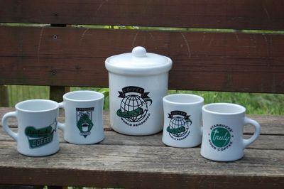 Starbucks retro canister and mugs
