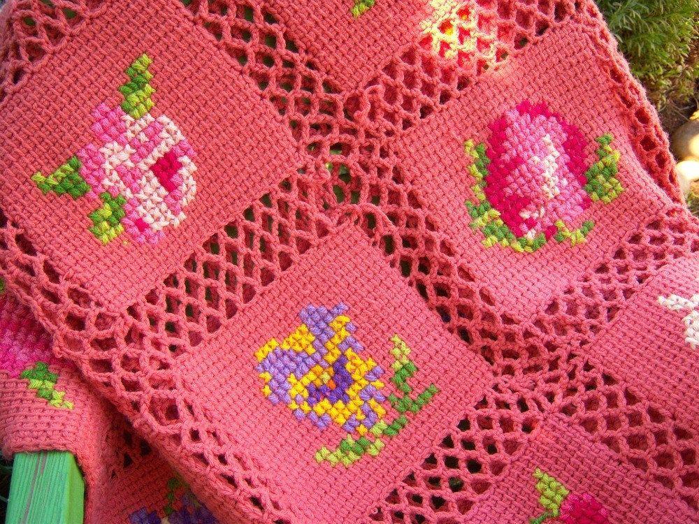 Vintage Afghan Blanket Pink Coral Fruit Flowers Knit Crochet