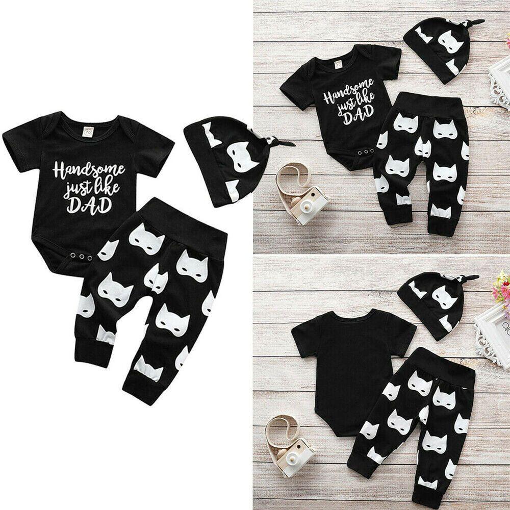 f7ff90ef3 (eBay Sponsored) US Newborn Baby Boy Handsome Romper Batman Patten Pants  Hat Outfit Boys