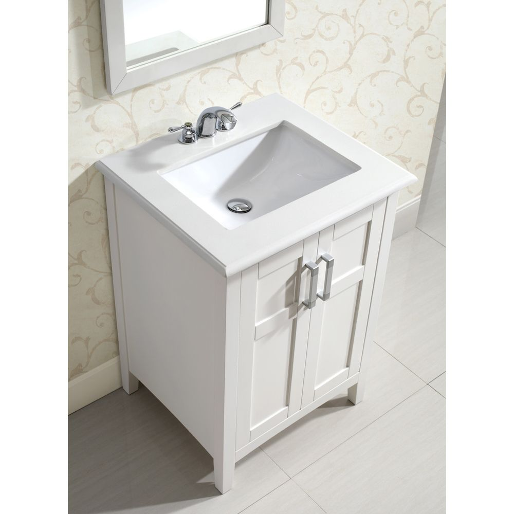 Salem White 24 Inch Bath Vanity With 2 Doors And White Marble Top Bathroom