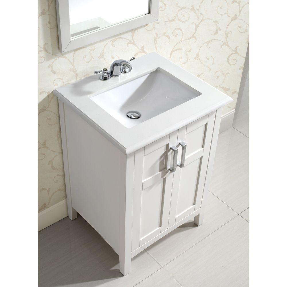 Wyndenhall Salem White 2 Door 24 Inch Bath Vanity Set with White