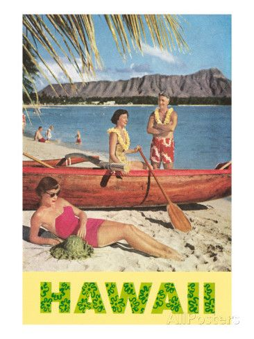 Hawaii, Beach Scene with Outrigger Posters at AllPosters.com