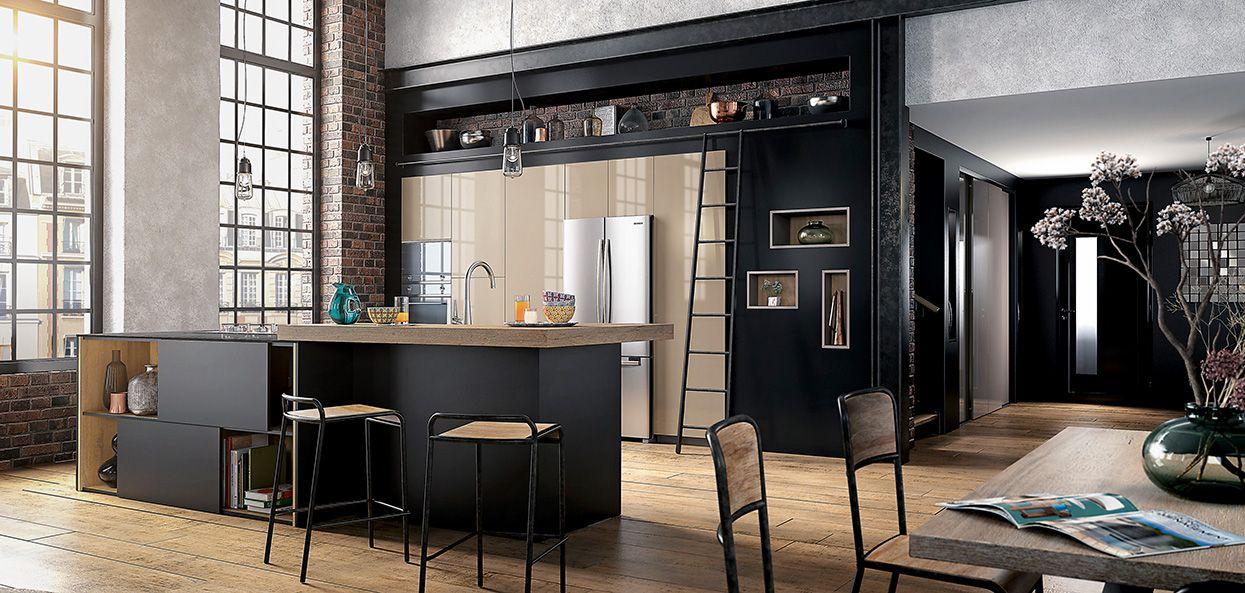 Ambiance factory plan de travail stratifi stratifi et for Modele cuisine noire