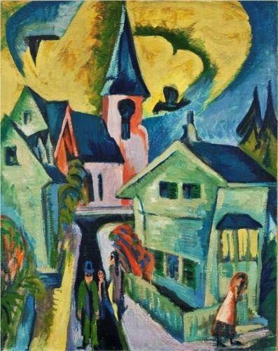 1916 Ernst Ludwig Kirchner (German Expressionist, 1880-1938) Königstein with Red Church