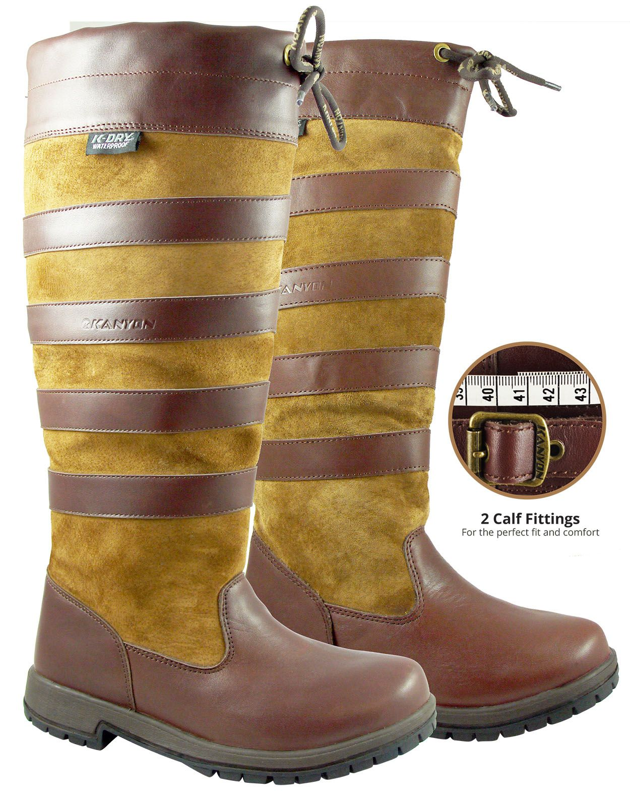 Beech & Maple, full grain leather and suede waterproof country boot in 2 calf fittings. From £134.95