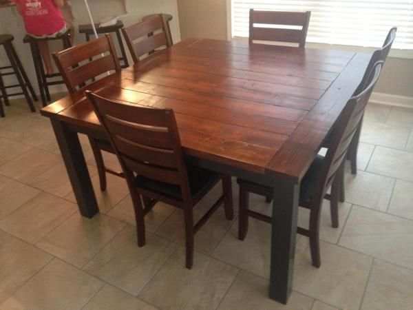 Diy 60 Inch Square Farmhouse Table Square Kitchen Tables