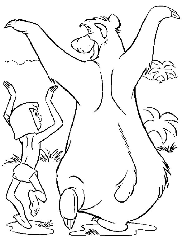 Baloo And Mowgli Funny Walk In Jungle Book Coloring Pages Bulk Color Disney Coloring Pages Jungle Coloring Pages Coloring Books