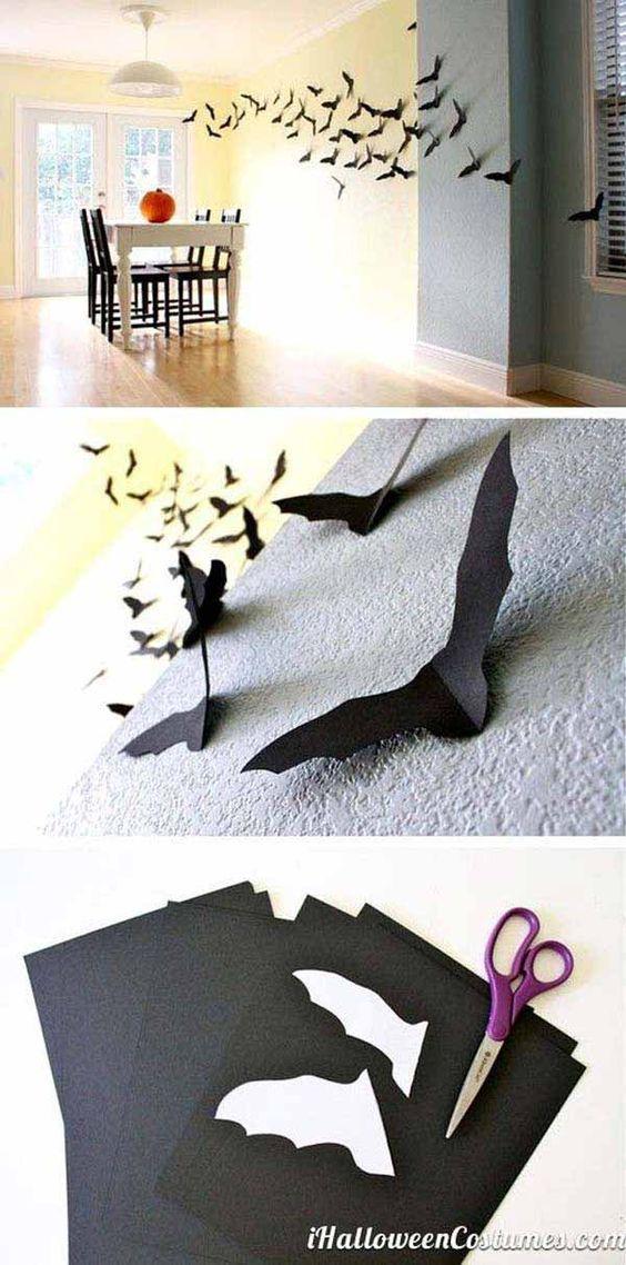 Wall paper bats - Last-Minute Cheap DIY Halloween Decorations You - cool halloween decorations you can make