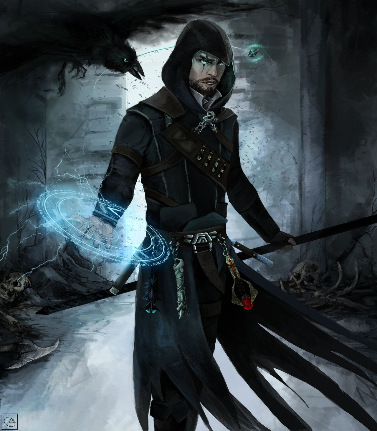 The Raven by ~FleareHuce on deviantART If he was missing an eye and didn't have the alchemy/magic circle over his right hand, I'd this this was Mat from The Wheel of Time series.