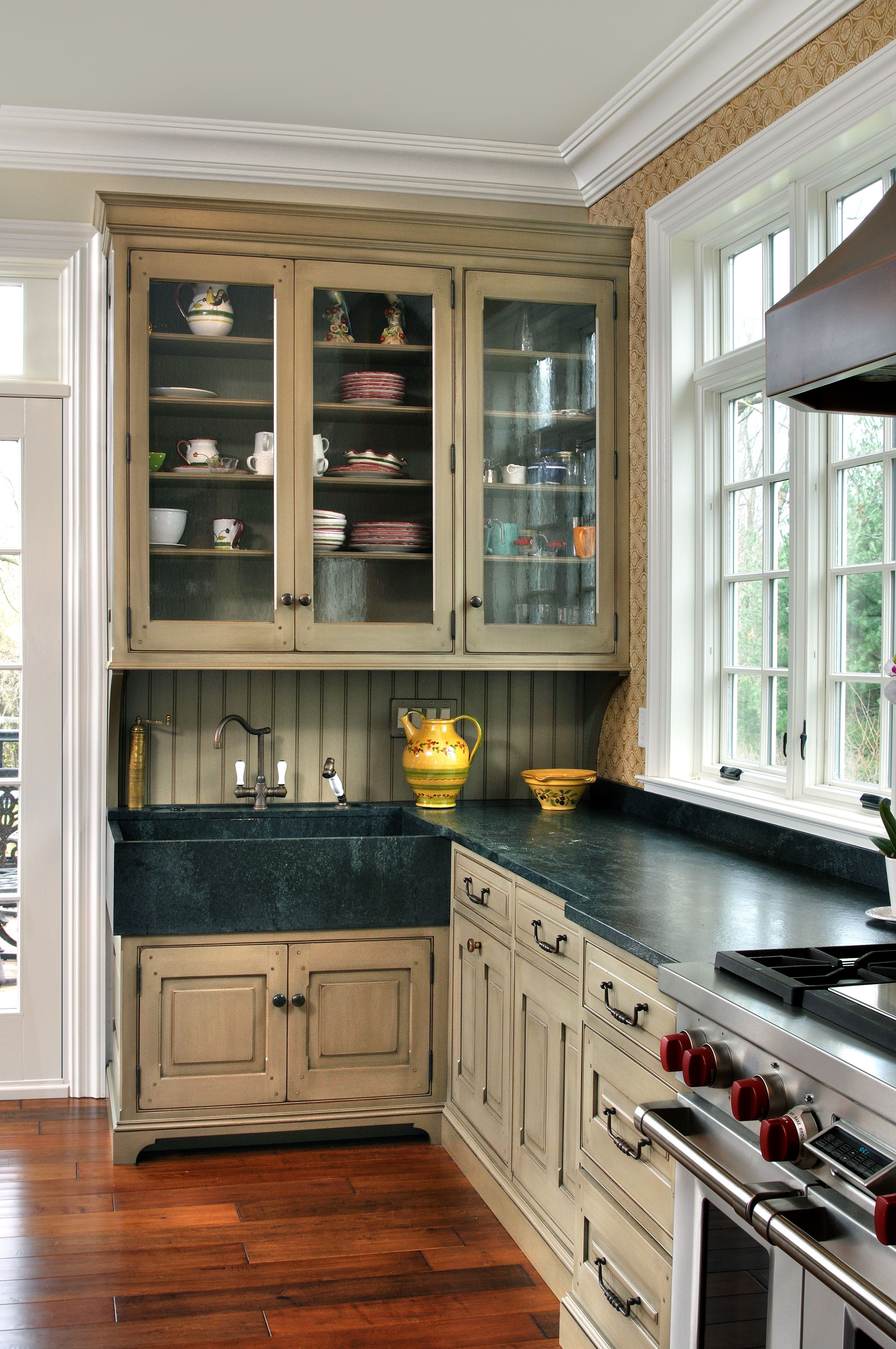Glass Cabinets And Integrated Soapstone Sink English Country