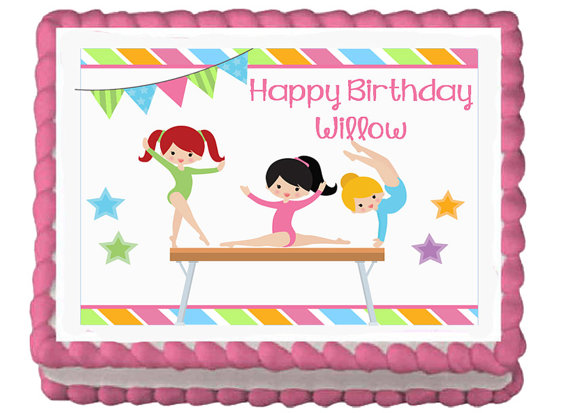 Gymnastics Gymnast Girls Tumbling Edible Birthday Party Cake Cupcake Toppers Choose From 10 Frosting Sheet Sizes Custom Personalized