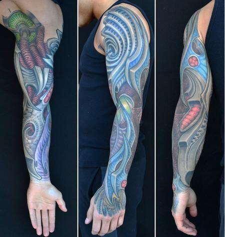 8657e6ea6 Jeff Johnson - Blue Biomech Sleeve Tattoo   My Tattoo ideas   Sleeve ...