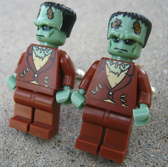 LEGO Frankenstein Cufflink Wedding Groom Halloween Trendy Unisex Geek. $25.00, via Etsy.