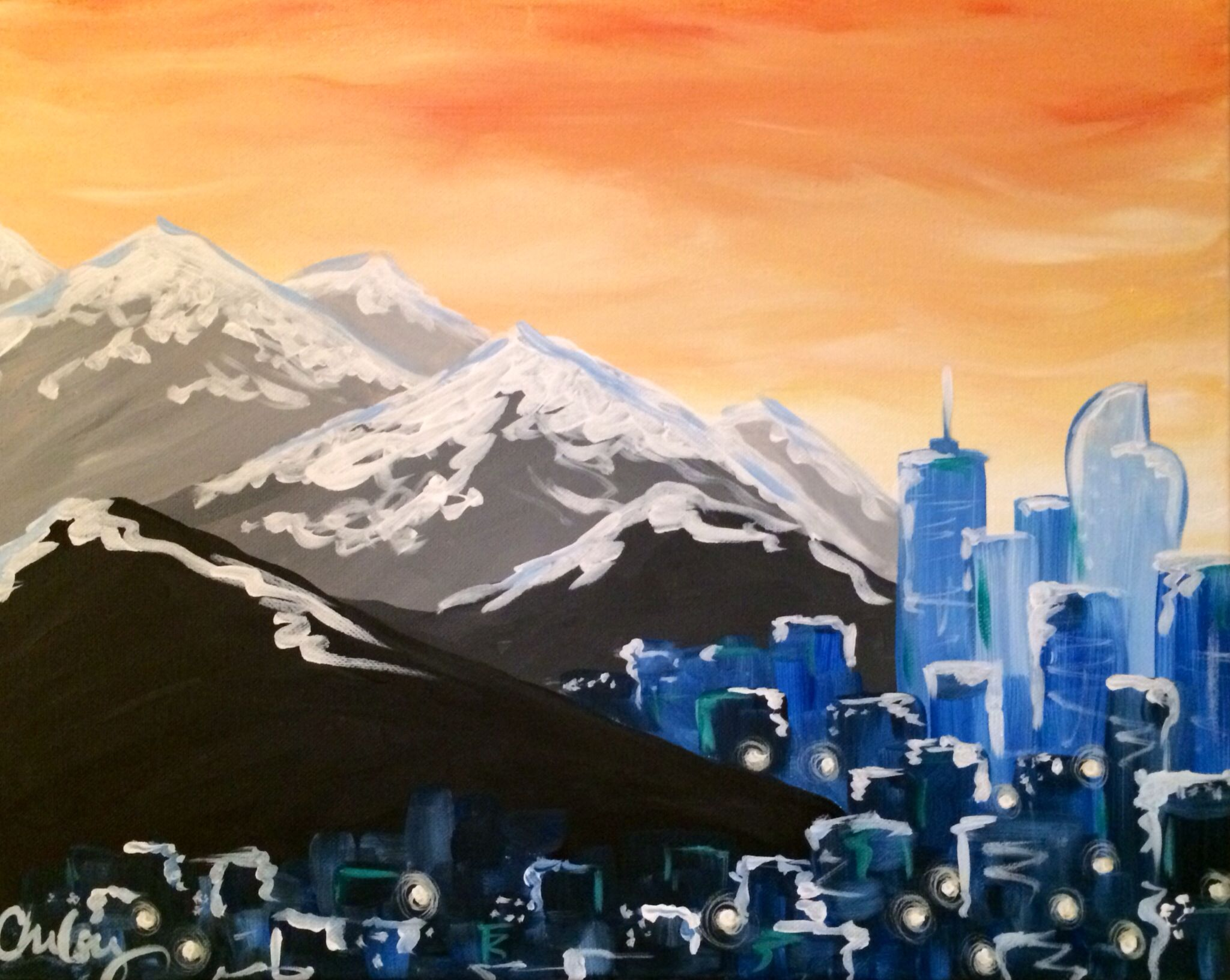 Snowy Denver Acrylic Canvas And Cocktails Painting Class Canvas
