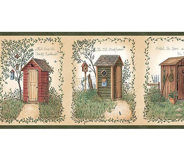 Linda Spivey Outhouses Wallpaper Border Outhouse Bathroom Outhouse Bathroom Decor Wallpaper Border