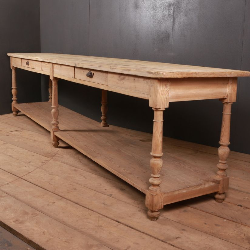 19th Century Pine Drapers Table From Dc Member Arcadia Antiques French Console Table Large Console Table Table